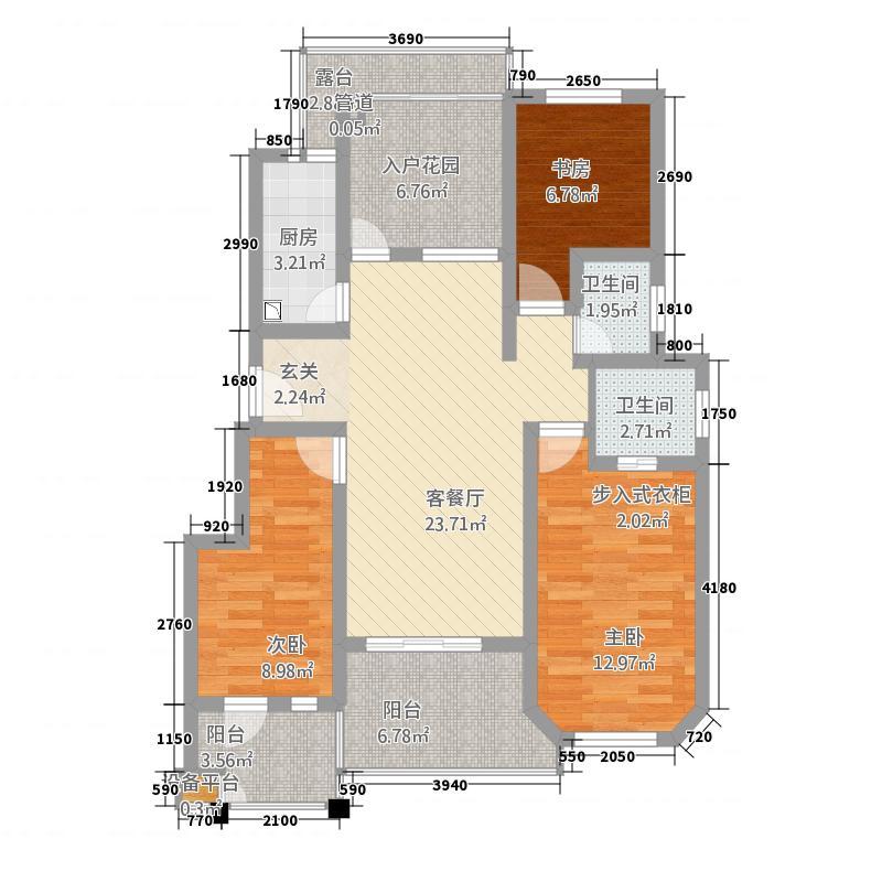 京海湾118.00㎡户型3室2厅2卫1厨