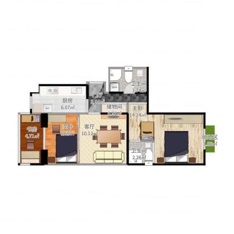 地华里3室1厅2卫1厨73.00㎡户型图