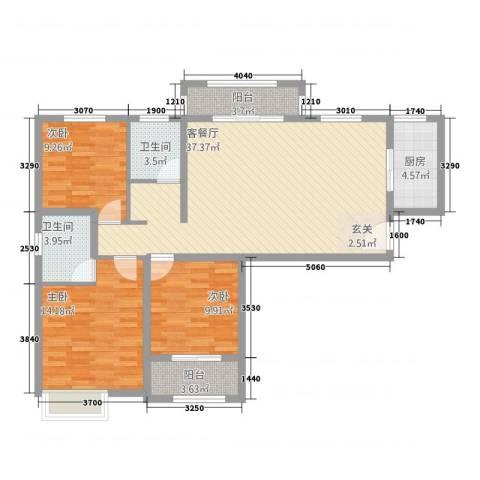冠捷・观邸3室1厅2卫1厨90.07㎡户型图
