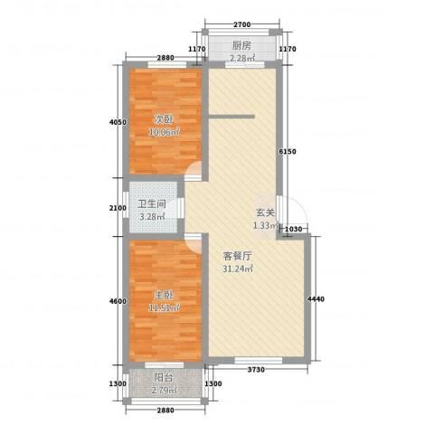 昆仑正和苑2室1厅1卫1厨89.00㎡户型图