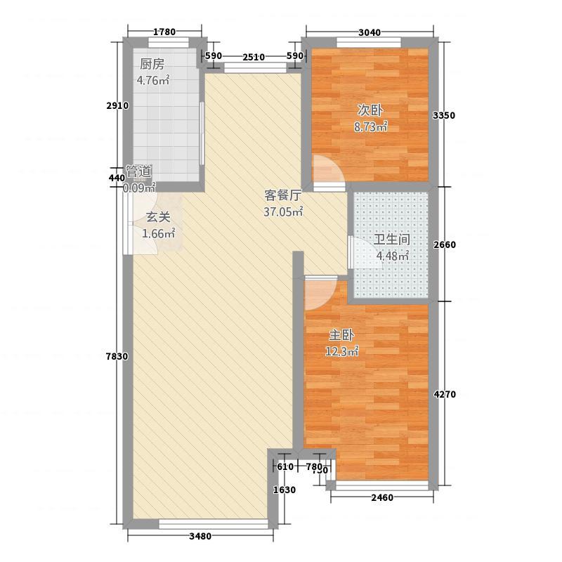 新奥海洋绿洲5.47㎡B10户型2室2厅1卫1厨