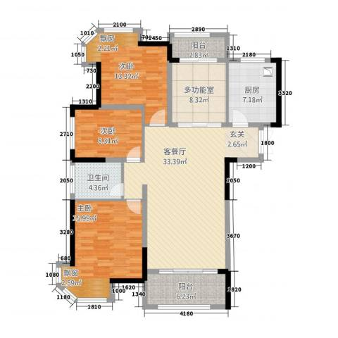 水榭丽都3室1厅1卫1厨127.00㎡户型图