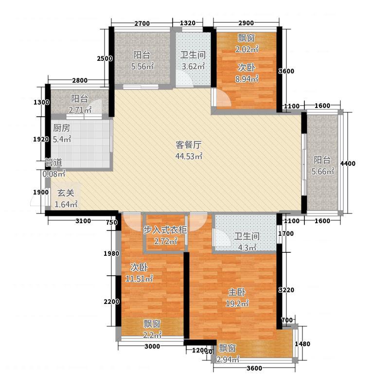 中航・翡翠湾143.73㎡一期33层雅室经典户型3室2厅2卫1厨