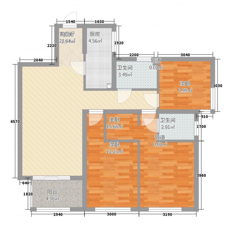 倍乐台北中央115.53㎡C1户型3室2厅2卫1厨