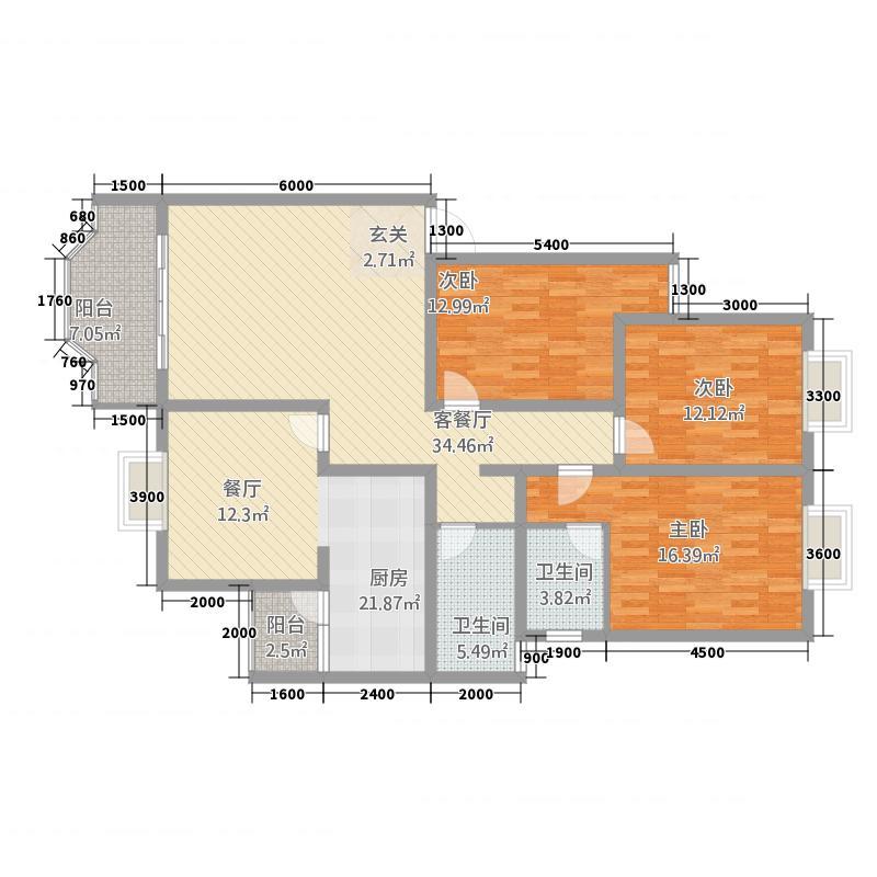 塞纳阳光11.56㎡7#A户型3室2厅2卫