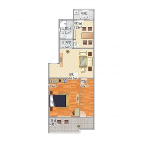 杨柳国际新城2室2厅1卫1厨94.00㎡户型图