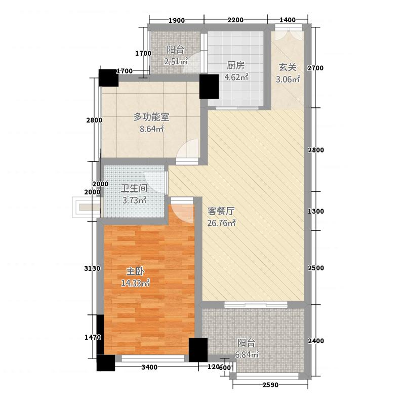 中央首座・银座78.00㎡A-3户型2室2厅1卫1厨