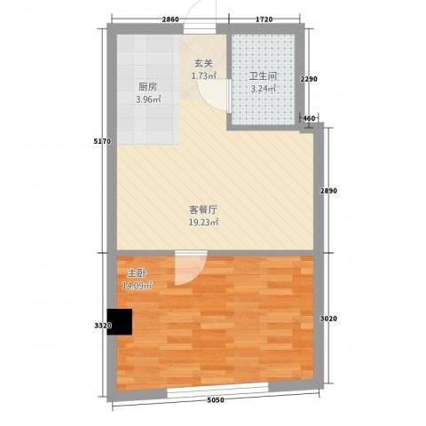 丹江国际1室1厅1卫0厨52.00㎡户型图