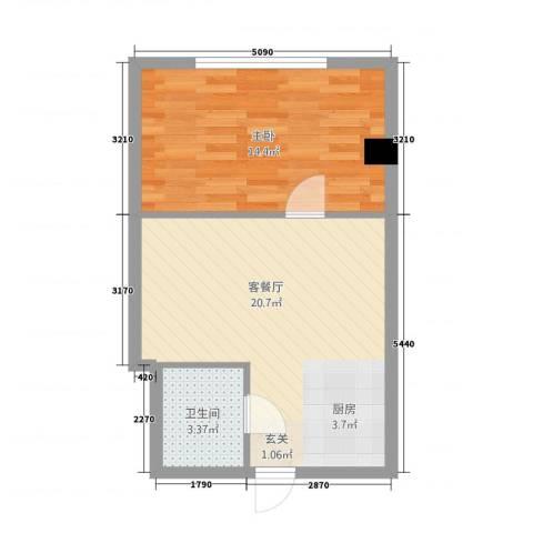 丹江国际1室1厅1卫0厨54.00㎡户型图