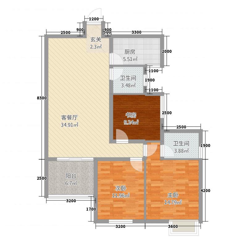 东城明珠115.14㎡D2户型3室2厅2卫1厨