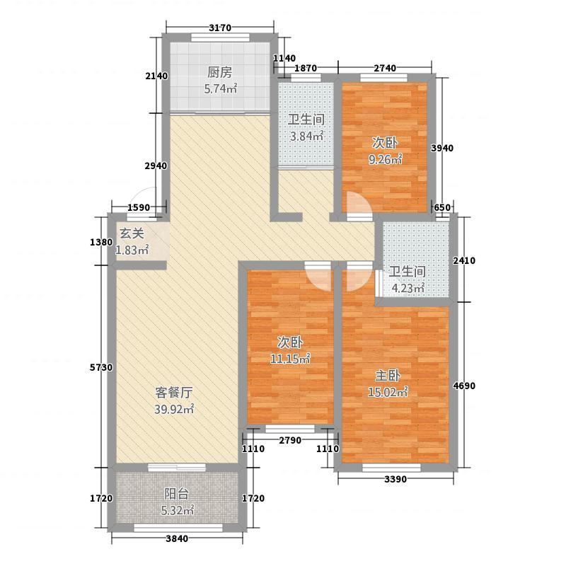 中鹤国际136.22㎡26#楼A户型3室2厅2卫1厨