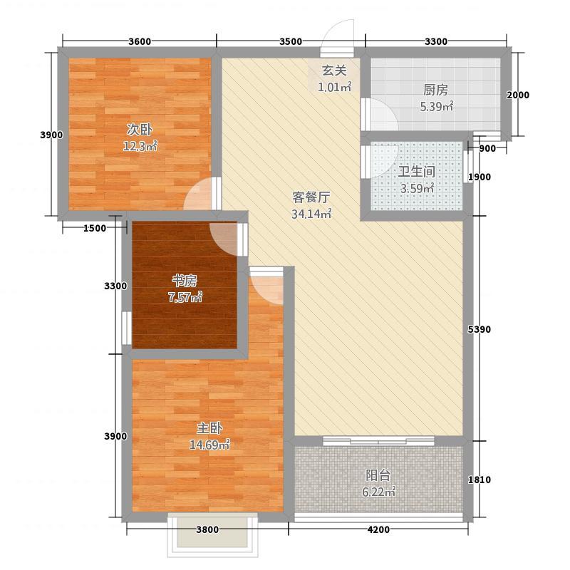 金都・九龙城113.00㎡D户型3室2厅2卫1厨