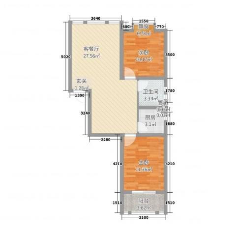 中道山水御园2室1厅1卫1厨68.00㎡户型图