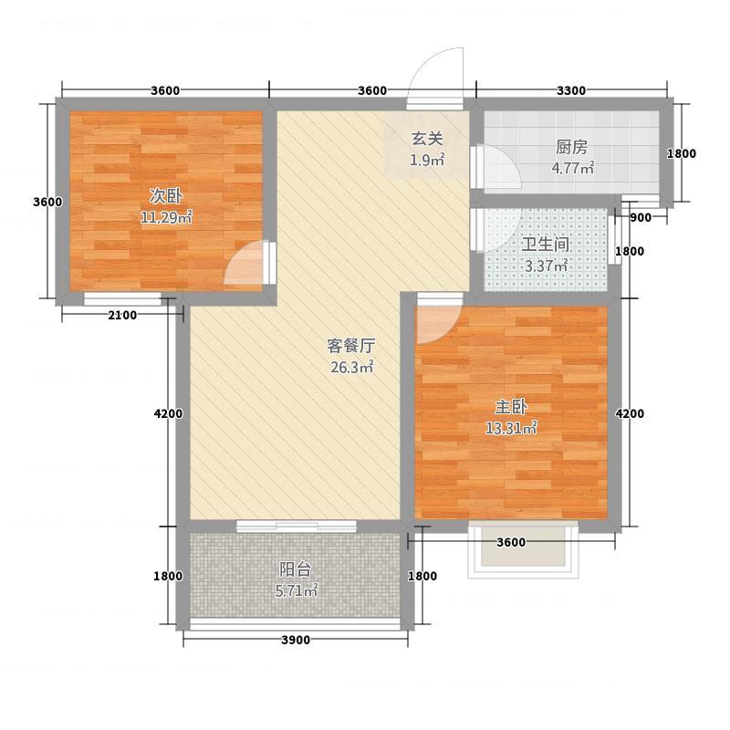 金都・九龙城87.00㎡B户型2室2厅1卫1厨