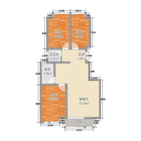 中道山水御园3室1厅1卫1厨85.60㎡户型图