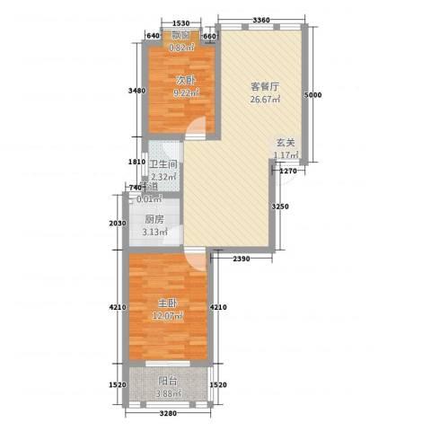 中道山水御园2室1厅1卫1厨66.40㎡户型图