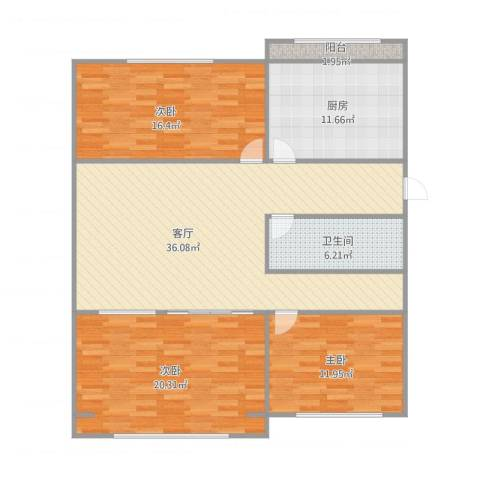裕龙花园一区3室1厅1卫1厨140.00㎡户型图