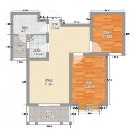中道山水御园2室1厅1卫1厨65.60㎡户型图