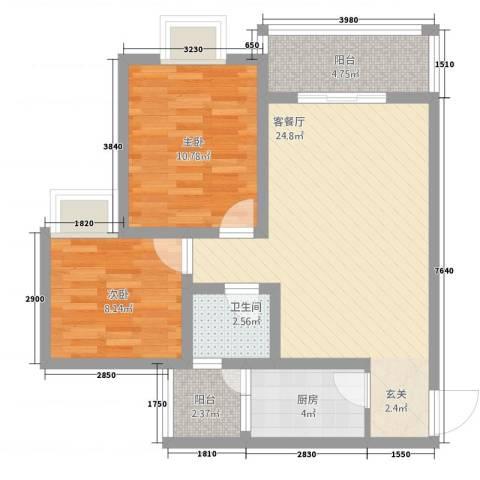 龙门古镇2室1厅1卫1厨72.00㎡户型图