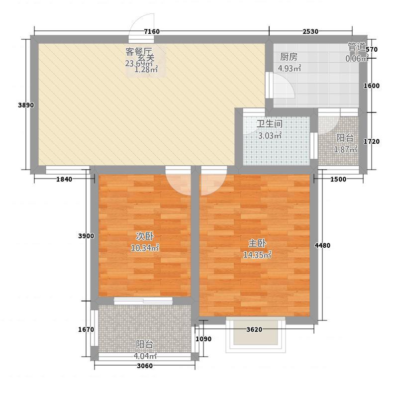 东城师范府邸5.77㎡F1户型2室2厅1卫1厨