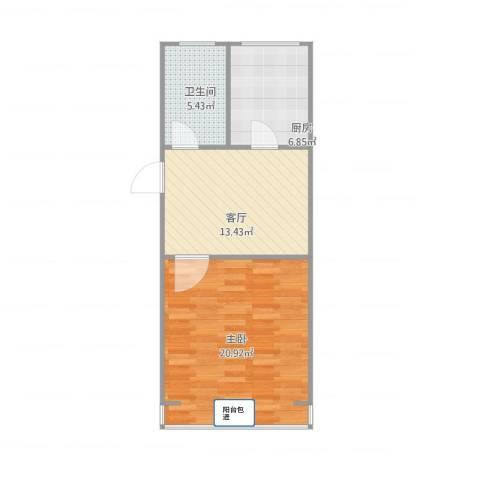 永丰巷1室1厅1卫1厨62.00㎡户型图