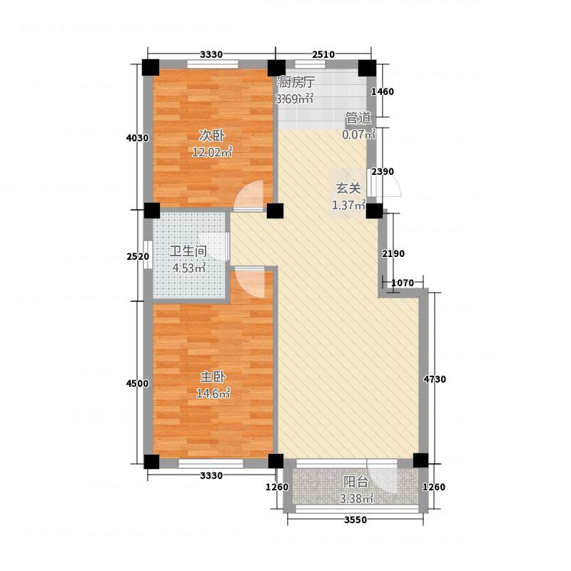 金色雅园83.00㎡户型2室