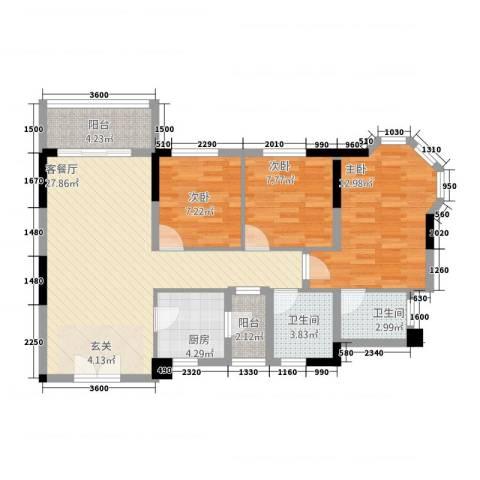 凯旋豪庭3室1厅2卫1厨73.29㎡户型图