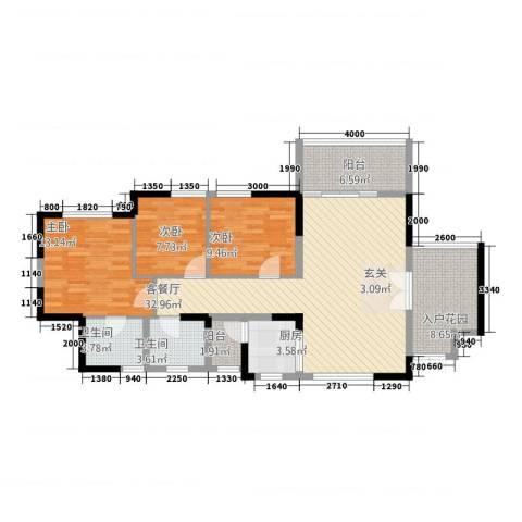 凯旋豪庭3室1厅2卫1厨115.00㎡户型图