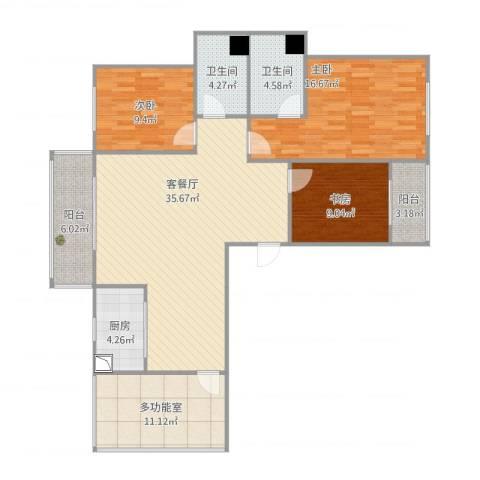 国际佳缘3室1厅2卫1厨142.00㎡户型图