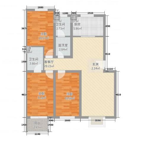 体育家园3室2厅2卫1厨115.00㎡户型图