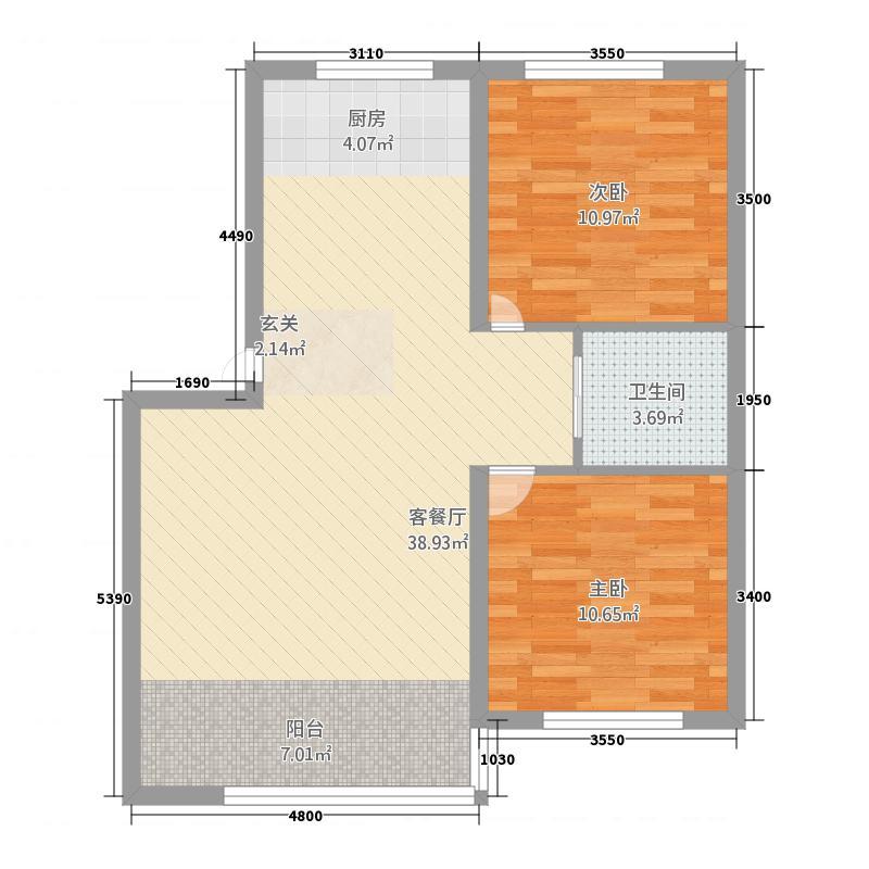 宝德花园88.57㎡8857户型2室2厅1卫
