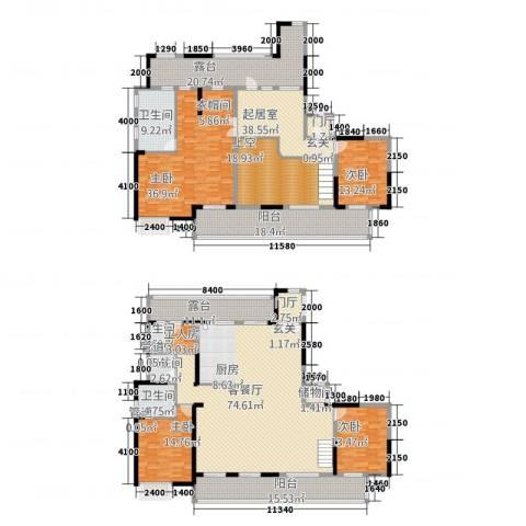 佳兆业御峰4室1厅4卫0厨284.58㎡户型图