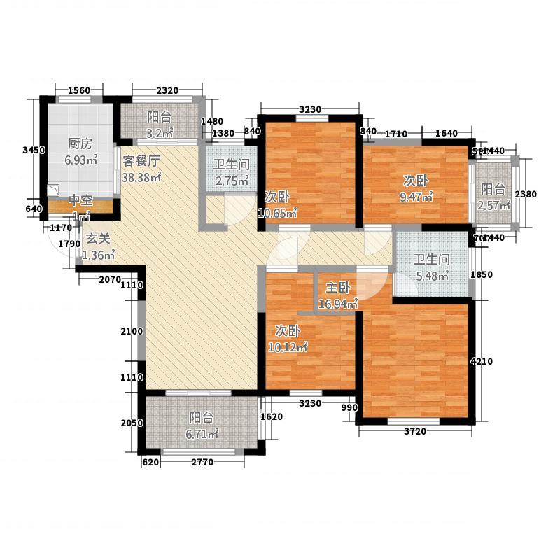 建业桂园167.40㎡1#、3#C户型4室2厅2卫1厨