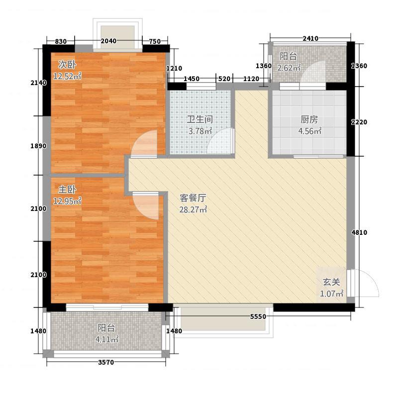 常阳丽江城8.00㎡户型2室