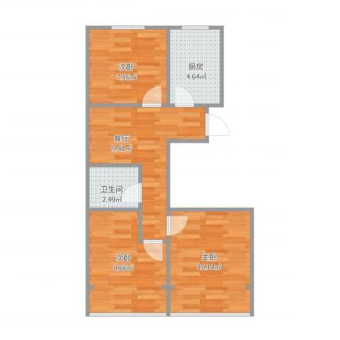流水东苑3室1厅1卫1厨58.00㎡户型图