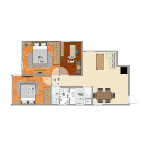 德荣·帝景3室1厅1卫1厨75.00㎡户型图