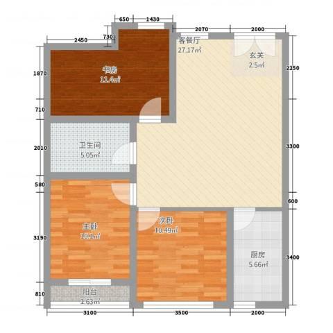 金水湾B区3室1厅1卫1厨81.92㎡户型图