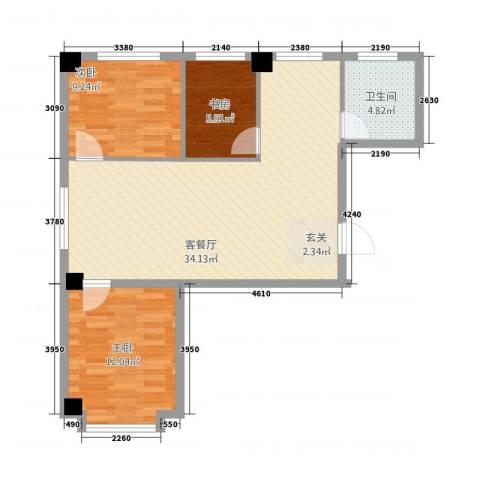 鑫城蓝湾3室1厅1卫0厨66.13㎡户型图
