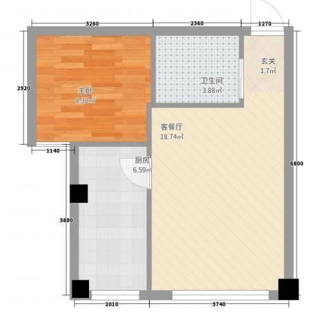 鑫城蓝湾1室1厅1卫1厨48.00㎡户型图