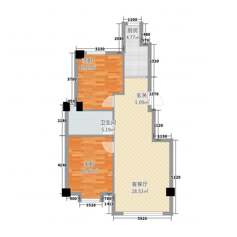 鑫城蓝湾86.00㎡户型2室2厅1卫1厨