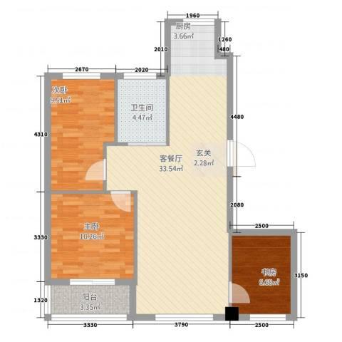 鑫城蓝湾3室1厅1卫0厨95.00㎡户型图