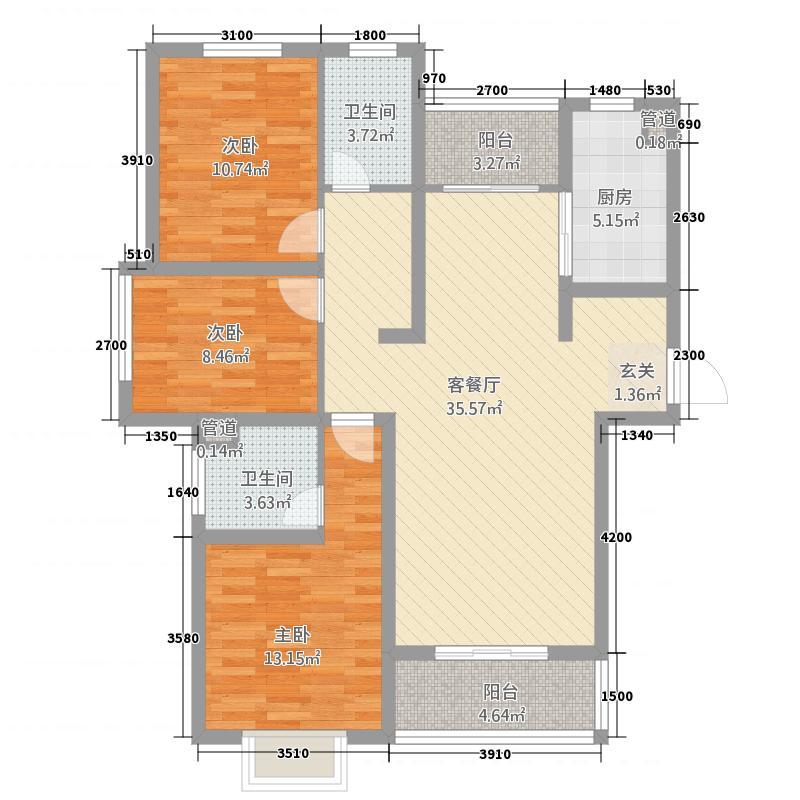 亿和嘉苑13.53㎡A3户型3室2厅2卫1厨