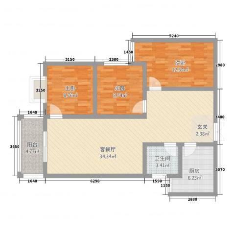 乾达・盛世嘉园3室1厅1卫1厨114.00㎡户型图