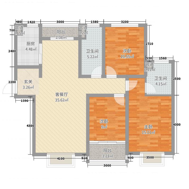 亿和嘉苑134.22㎡A1户型3室2厅2卫1厨
