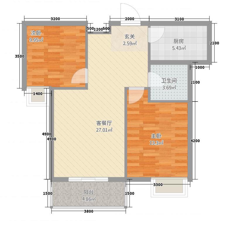 东城明珠83.47㎡E3户型2室2厅1卫1厨