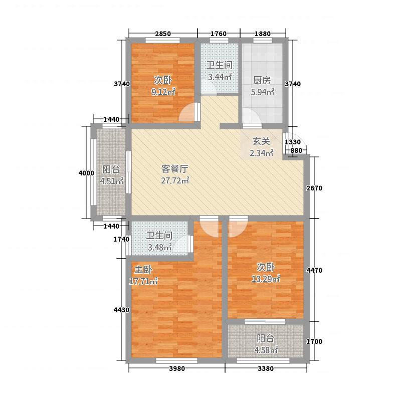 中鹤国际127.81㎡26#楼B户型3室2厅2卫1厨