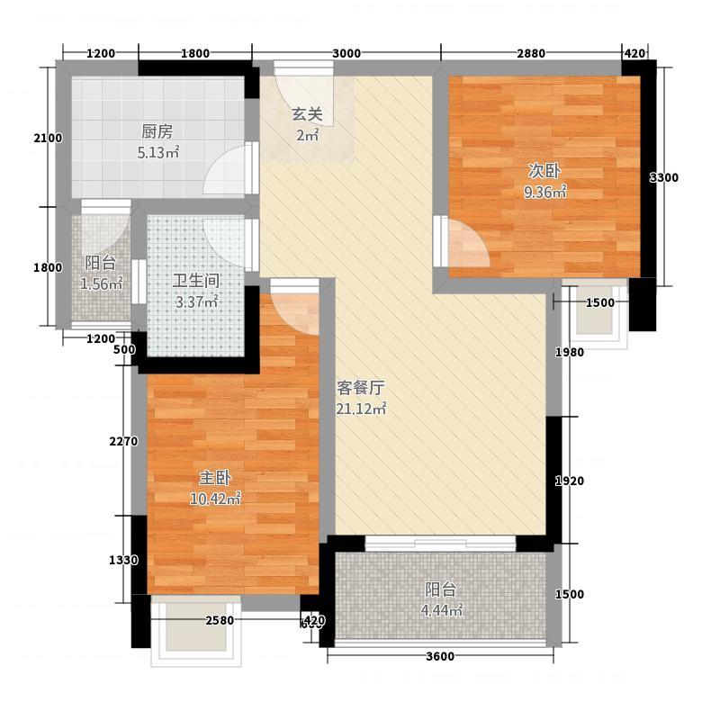 川师・学府城1278.32㎡e户型2室2厅1卫1厨