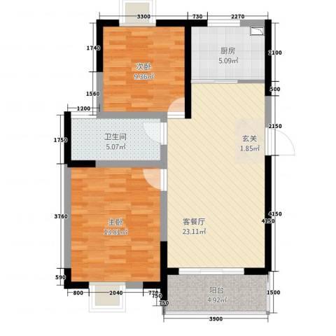 左岸王府2室1厅1卫1厨88.00㎡户型图