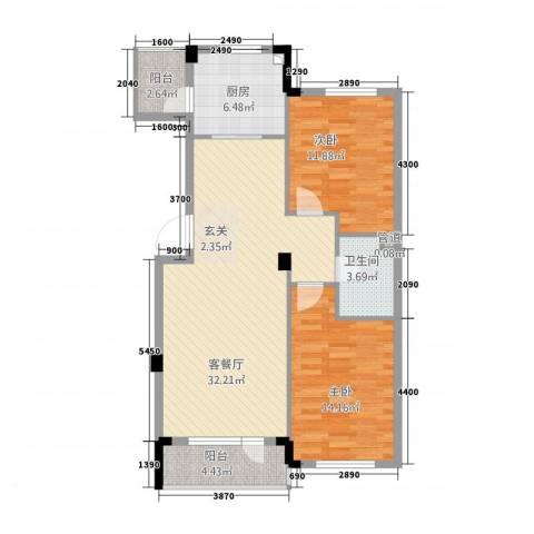 金和温州城2室1厅1卫1厨84.65㎡户型图