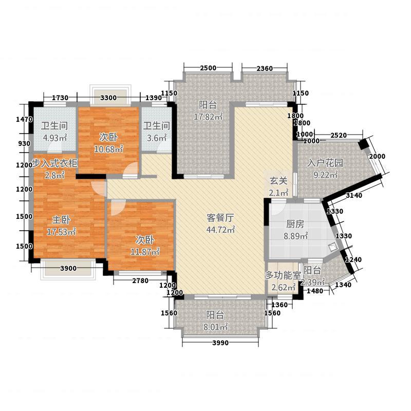 爱加西西里135.00㎡二期8号楼标准层G2户型3室2厅2卫1厨